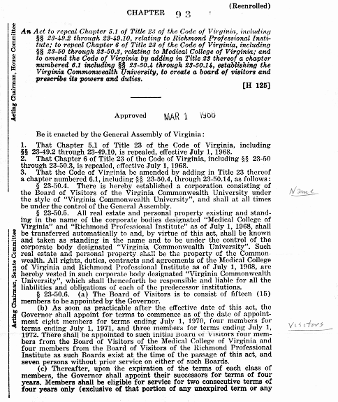 Annotated copy of the legislation establishing VCU