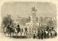 Alabama regiment marching through Capitol Square, Richmond, on their way to join the Rebel forces under Beauregard