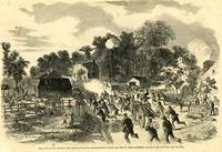 Army of the Potomac -- the Rebels evacuating Mechanicsville under the fire of Union batteries