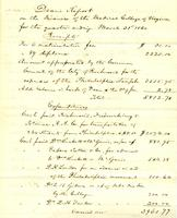 Dean's report on the finances of the Medical College of Virginia, 1860 April 5