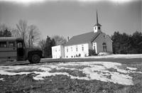 Worsham Baptist Church and Worsham Academy, Worsham, Va., building and school bus, 1962-1963