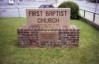 First Baptist Church stone sign, Farmville, Va., 1988