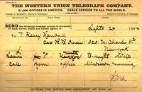 Telegram from James W. Allison to T. Henry Randall 1894, September 24