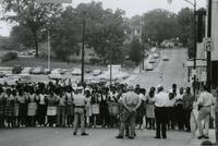 Crowd and police near First Baptist Church, Farmville, Va., August 1963, #001