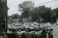 Crowd and police near First Baptist Church, Farmville, Va., August 1963, #007