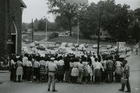 Crowd and police near First Baptist Church, Farmville, Va., August 1963, #010