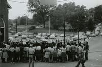 Crowd and police near First Baptist Church, Farmville, Va., August 1963, #011