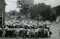 Crowd and police near First Baptist Church, Farmville, Va., August 1963, #009