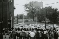 Crowd and police near First Baptist Church, Farmville, Va., August 1963, #012